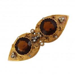 Anstecknadel - Brosche Antik Rosegold 585 Turmalin Orientperle