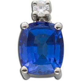 Anhänger blau facettierten Tansanit Edelstein ca. 1,5 Carat 1 Brillant 0,03ct