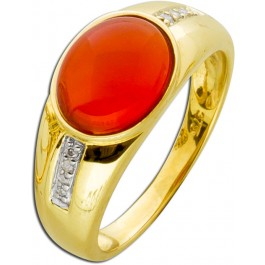 Edler Band-Ring Gelbgold 375 Carneol Cabochon