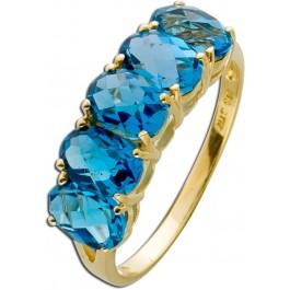 Ring Gelbgold 375 Blautopas London Blue