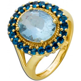 Antiker Lady Dy Ring Gelbgold 375  Blautopas