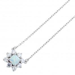 Silberkette 925 Sterling Silber synth. Opal 8 Zirkonia