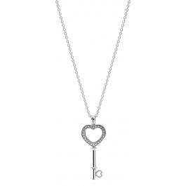 PANDORA Halskette 396581CZ-80  Herzschlüssel Medaillon Sterling Silber 925 80cm Länge