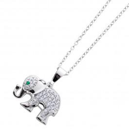 Ankerkette poliertem Sterling Silber 925 Elefant Zirkonia