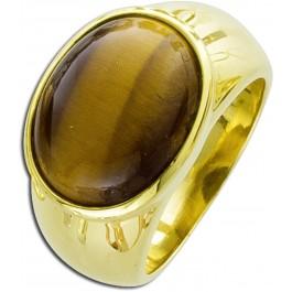 Ring Tigerauge - Sterling Silber 925 gelb vergoldet