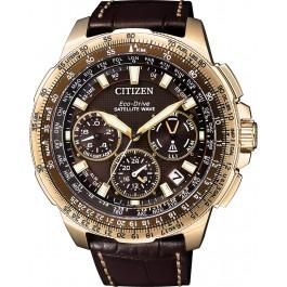 Citizen Uhren CC9023-13X Eco Drive Satellite GPS Titan IP Gold Lederband Herrenuhr