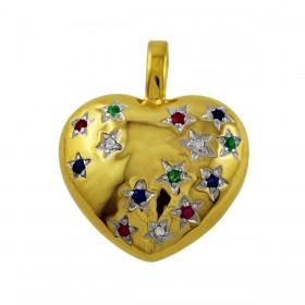 Anhänger Edelstein - Goldanhänger Gelbgold 333/- Rubin, Safir, Smaragd, 3 Diamanten 0,03ct W/P