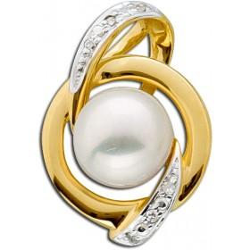 Perlenanhänger - Goldanhänger Gelbgold 585  6 Diamanten 0,02ct W/P1