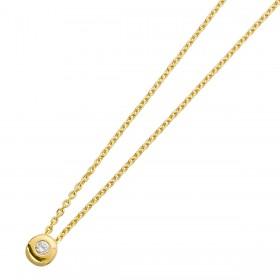 Diamant Collier Kette Gelbgold 585 Brillant 0,05ct  W/P