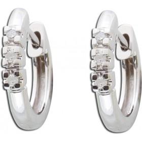 Ohrringe - Klappcreolen Weißgold 333/- 6 Diamanten 0,05ct 8/8 W/P