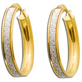Ohrringe Goldcreolen Gelbgold 375 Diamant Look Ø25mm