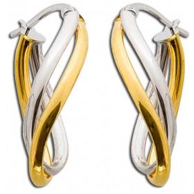 Ohrringe Goldcreolen Gelbgold Weissgold 375