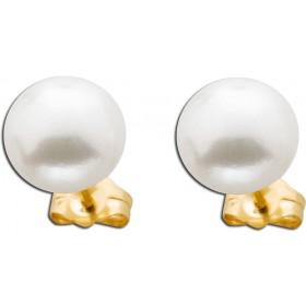 Ohrringe Ohrstecker Gelbgold 375 Süßwasserzuchtperle Ø 9mm