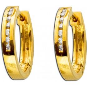 Ohrringe - Creolen Gelbgold 585 Brillanten 0,10ct W/SI