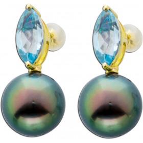 Ohrringe Ohrstecker Gelbgold 585 14 Karat 2 Tahitizuchtperlen Blautopas