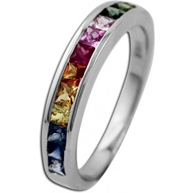 Ring Edelsteinring Weißgold 585 Saphir Memoire Ring