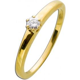 Solitär Ring Krappenfassung Gelbgold 585 Brillant 0,10ct TW / Lupenrein