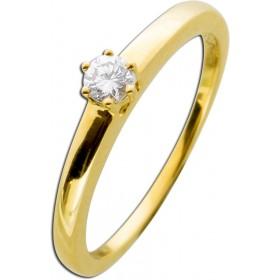Diamantring Verlobungsring Gelbgold 585 - 1 Brillant 0,15ct TW / Lupenrein Krappenfassung