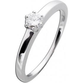 Solitär Ring Verlobungsring Weißgold 585 - 1 Brillant 0,22ct TW / Lupenring Krappenfassung