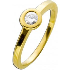 Verlobungsring Gelbgold 585 - 1 Brillant 0,22ct TW / Lupenrein Zargenfassung