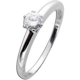 Weißgoldring Verlobungsring 585 - 1 Brillant 0,30ct TW / Lupenrein Krappenfassung