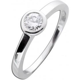 Diamantring Verlobungsring Weißgold 585 - 1 Brillant 0,30ct TW / Lupenrein Zargenfassung