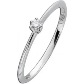 Verlobungsring Weißgold 585 Diamant 0,05ct W/SI Brillantschliff