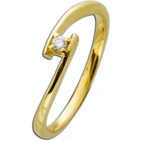Verlobungsring Gelbgold 585 Diamant 0,05ct W/SI Brillant Schliff