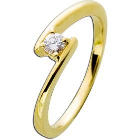 Verlobungsring Gelbgold 585 Diamant 0,15ct W/SI Brillant Schliff