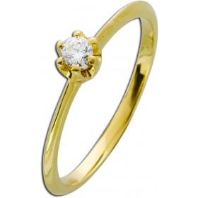 Verlobungsring Gelbgold 585 Brillant 0,15ct W/SI