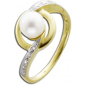 Ring Gold - Gelbgold 333/- Süßwasserzuchtperle 8 Diamanten 0,03ct W/P1