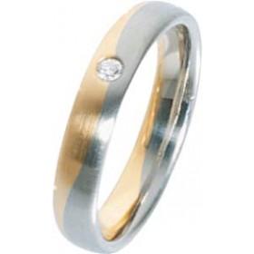 Trauring in Gelbgold 750/- / Weißgold 750/-, Brillant 0,04 Carat W/SI, Breite 4,0mm, Stärke 1,7mm, der Ring ist poliert, die Gravur der Trauringe sowie das Etui erhalten Sie kostenlos und bei diesen einfarbigen Trauringen - Eheringen ist auch der kostenlo