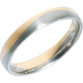 Trauring in Gelbgold 585/- + Weißgold 585/-, Breite 4,0mm, Stärke 1,7mm, der Ring ist mattiert, die Gravur der Trauringe sowie das Etui erhalten Sie kostenlos und bei diesen zweifarbigen Trauringen - Eheringen ist auch der kostenlose Auffrischungsservice
