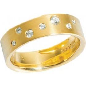 Trauring in Gelbgold 750/-, mit 7 echten Brillanten 0,18 Carat W/SI, Breite 6,0mm, Stärke 1,7mm