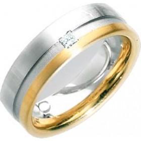 Trauring / Ehering aus Weiß- und Gelbgold 750/- (18 Karat) besetzt mit einem Princess Cut 0,05 ct TW/VSI