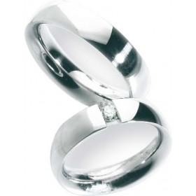 Trauring in Weißgold 750/-, Brill. 0,15ct W/SI, Breite 5,5mm, Stärke 2,6mm, der Ring ist hochglanz poliert, die Gravur der Trauringe sowie das Etui erhalten Sie kostenlos und bei diesen einfarbigen Trauringen - Eheringen ist auch der kostenlose Auffrischu