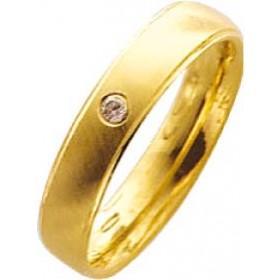 Trauring,Ehering in Gelbgold 18k 750/-,,mit echtem Brillant 0,03ct W/SI, Breite 4,0mm, Stärke 1,3mm die mitte ist mattiert am rand ist jeweils 1/2 mm hochglanzpoliert, innen natürlich für den tragekomfort bombiert(leichtgerundet) in feiner Trauringqualitä