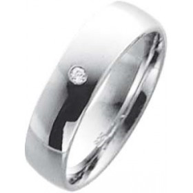 Trauring Weißgold in 8 k 333,  mit  1 echtem Brillanten 0,02ct W/SI Breite 5,0mm, Stärke 1,3mm der Ring ist hochglanz poliert die Gravur der Trauringe sowie das Etui erhalten Sie kostenlos und bei diesen einfarbigen Trauringen - Eheringen ist auch der kos