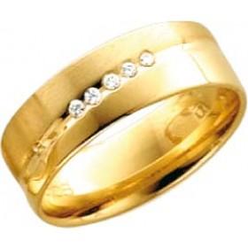 Trauring aus Gelbgold 333/- (8 Karat) mit 5 Brillanten 0,050ct W/SI besetzt. Breite 6,0mm, Stärke 1,2mm
