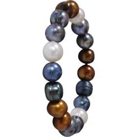Trendiges dehnbares Armband mehrfarbig schimmernde Süßwasserzuchtperlen. Perlendurchmesser 9,5/10,5mm