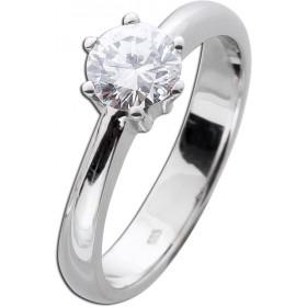 Funkelnder Verlobungsring Diamant 0,77ct W / VSI Brillantschliff Weißgold 585