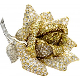 Diamantbrosche Rose Anstecknadel Gelbgold Weißgold 18kt 520 Diamanten Brillantschliff  54 Carat