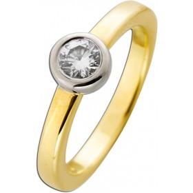 Solitär Ring - Gelbgold  Weißgold 585 Brillant 0,50ct TW/VSI