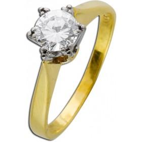 Ring - Solitärring Gelbgold Weißgold 585 1 Brillant 0,70ct TW/VSI