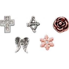 Charms Set für Medaillon 5-teilig Metall teilsrosé vergoldet Flügel Rose Kreuz Schneeflocke Pfeil und Bogen