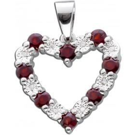 Anhänger Herz Sterling Silber 925 Diamanten Granate