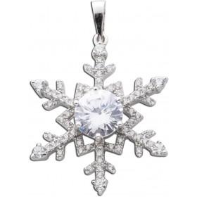 Anhänger Schneeflocke Silber mit Zirkonia