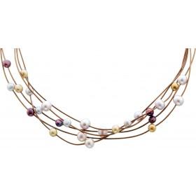 Perlenkette -  Leder Perlencollier
