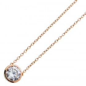 Kette Collier Sterling Silber 925 Zirkonia rosévergoldet 40+5cm