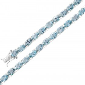 Edelsteinarmband - Edelsteincollier Sterling Silber 925 Blautopas